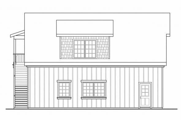 2 Car Garage Plan 20-077 - Left Elevation