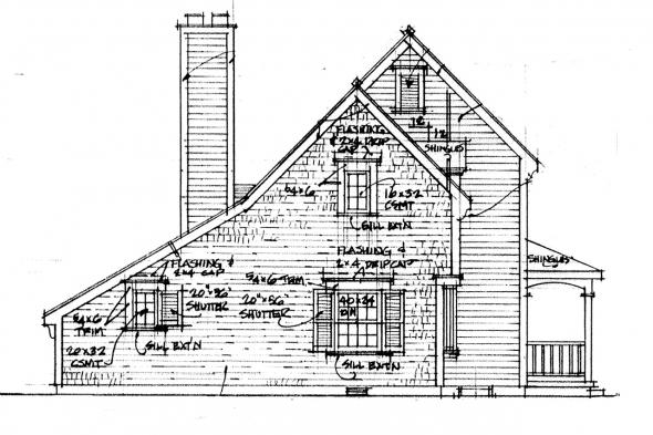 2 Story House Plan - Trowbridge 42-005 - Left Elevation