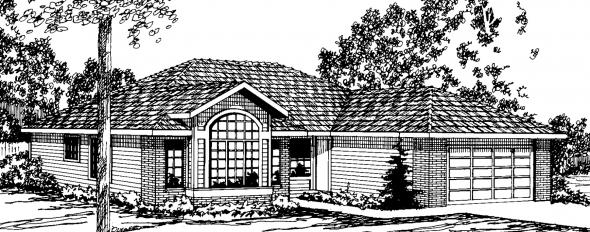 Baldwin - 30-019 - Ranch Home Plans - Front Elevation