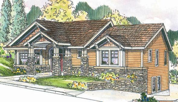 Keystone - 30-597 -Craftsman Home Plans - Front Elevation