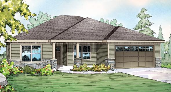 Whittaker - 30-845 - Ranch Home Plans - Front Elevation