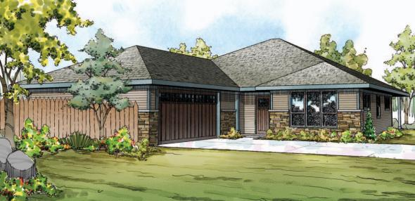 Oakdale - 30-881 - Prairie Home Plan - Front Elevation