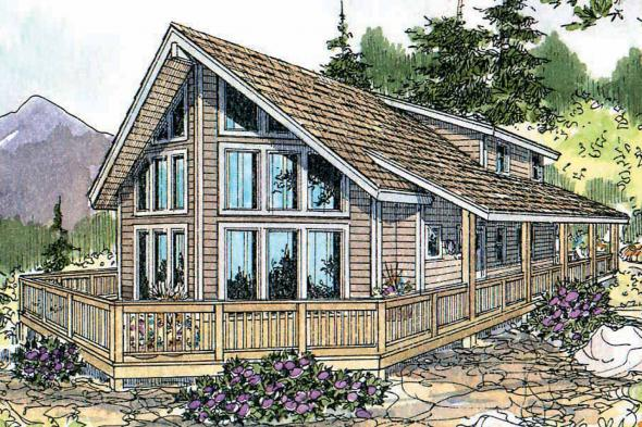 A Frame House Plan - Gerard 30-288 - Front Elevation