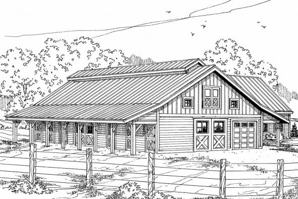 Barn Plan 20-047 - Front Elevation