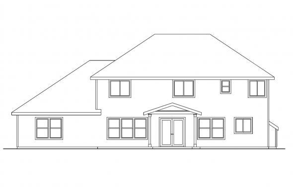 Beach House Plan - Cavanaugh 30-490 - Rear Elevation