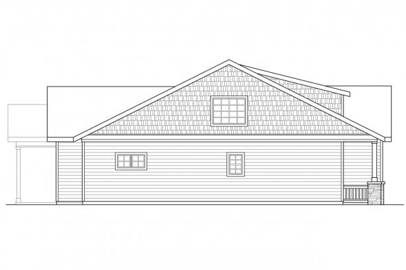 Bungalow House Plan - Cedar Ridge 30-855 - Left Elevation