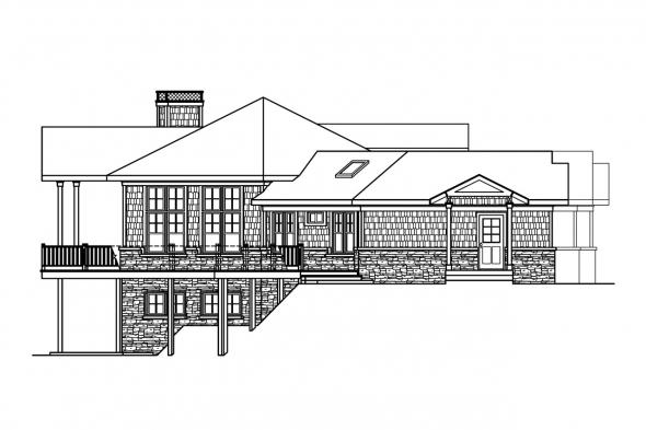 Bungalow House Plan - Crestview 10-532 - Left Elevation