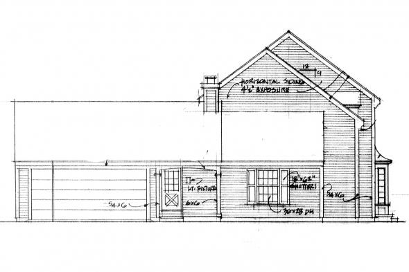 Cape Cod House Plan - Iverness 42-008 - Left Elevation