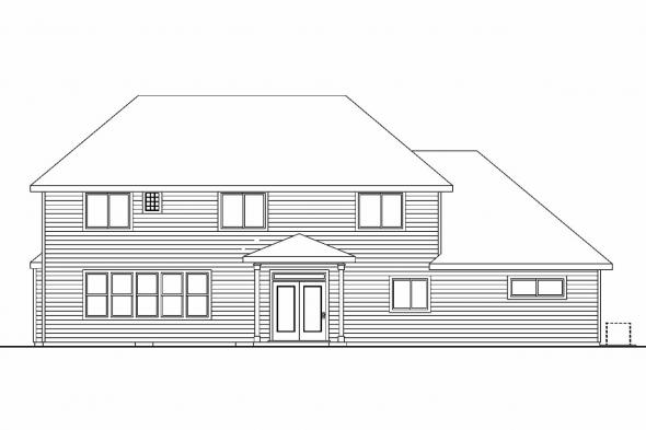 Cape Cod House Plan - Thomaston 30-668 - Rear Elevation