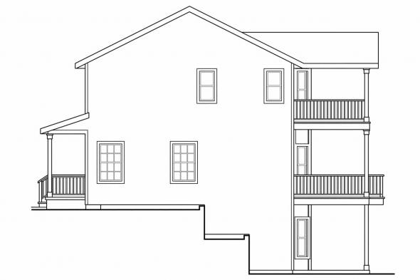 Colonial House Plan - Alsea 30-756 - Right Elevation