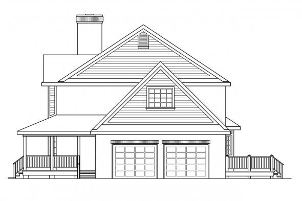 Colonial House Plan - Cimarron 10-208 - Right Elevation