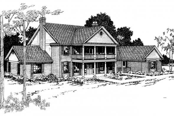Colonial House Plan - Clairmont 10-041 - Front Elevation