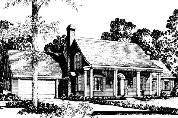 Colonial House Plan - Kinderhook 42-003 - Front Elevation