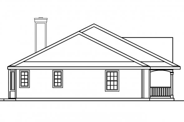 Colonial House Plan - Redmond 30-226 - Left Elevation