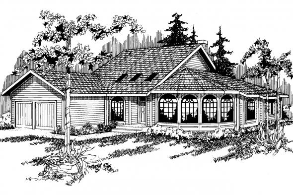 Contemporary House Plan - Candelaria 10-014 - Front Elevation