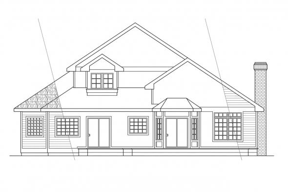 Contemporary House Plan - Geneva 10-067 - Rear Elevation
