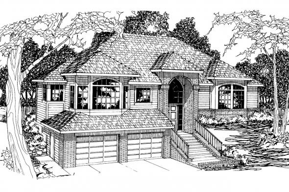 Contemporary House Plan - Lenox 30-066 - Front Elevation