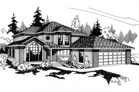 Contemporary House Plan - Maplewood 10-129 - Front Elevation