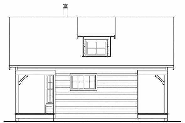 Cottage House Plan - Guest Cottage 30-727 - Right Elevation