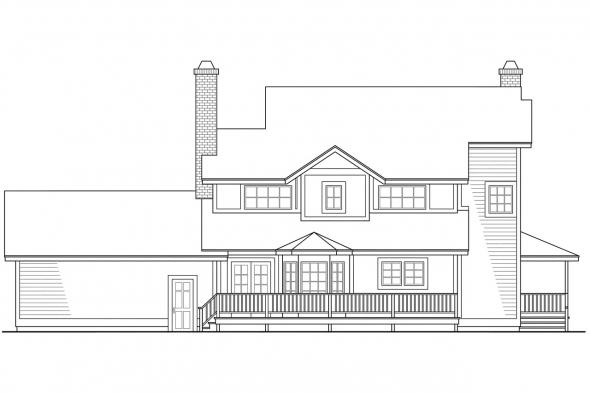 Country Home Plan - Thompson 10-018 - Rear Elevation