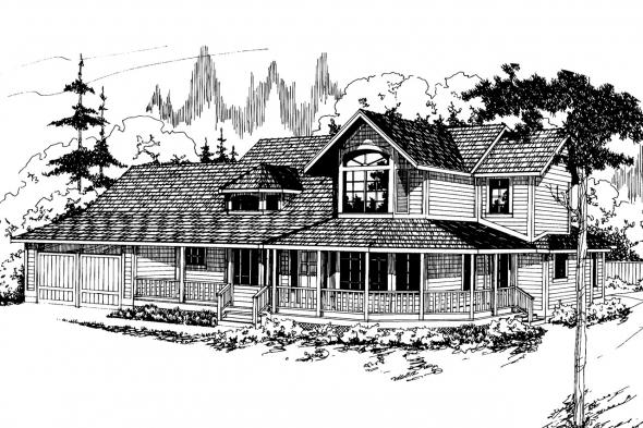 Country House Plan - Auburn 10-046 - Front Elevation