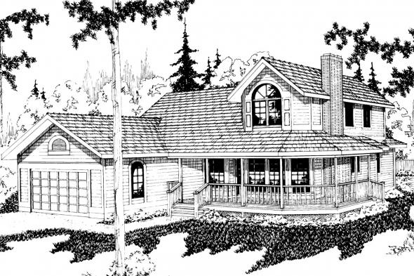 Country House Plan - Columbia 10-009 - Front Elevation