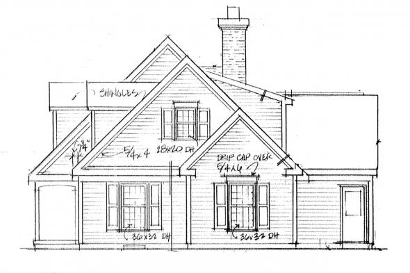 Country House Plan - Namskaket 42-004 - Right Elevation