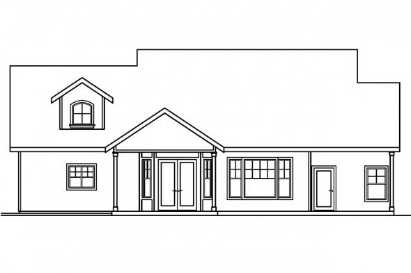 Country House Plan - River Glen 30-223 - Rear Elevation