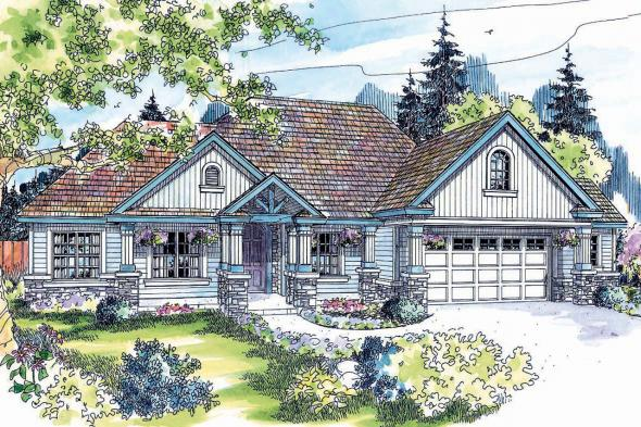 Country House Plan - Springheart 10-530 - Front Elevation
