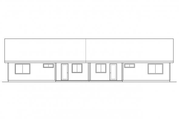 Country House Plan - Torrington 60-010 - Rear Elevation