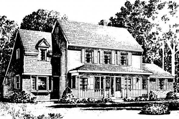 Country House Plan - Trowbridge 42-005 - Front Elevation