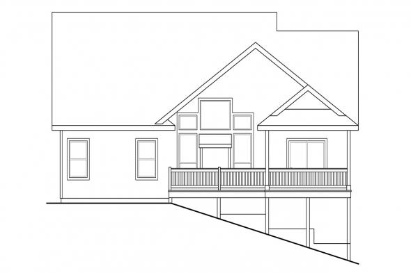 Craftsman House Plan - Brookville 30-928 - Rear Elevation