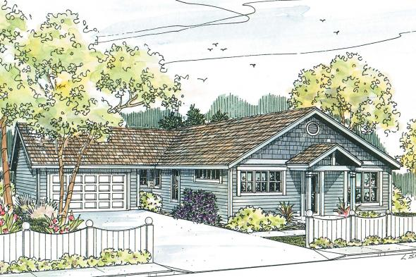 Craftsman House Plan - Evelyn 30-480 - Front Elevation