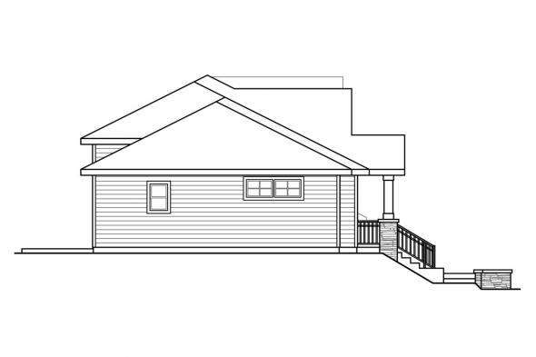 Craftsman House Plan - Lincolnshire 60-032 - Left Elevation