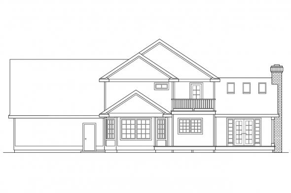 Craftsman House Plan - Olympia 10-210 - Rear Elevation