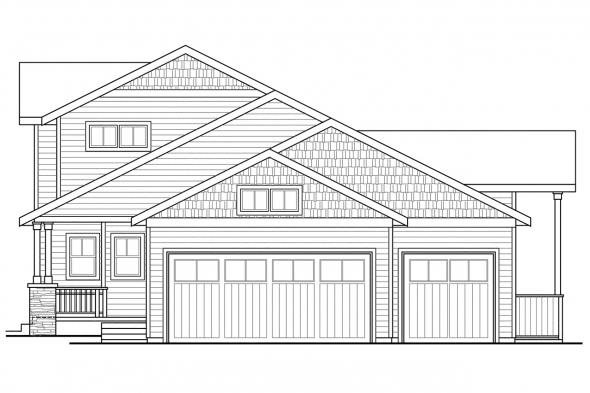 Craftsman House Plan - Ontario 30-830 - Right Elevation