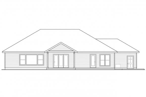 Craftsman House Plan - Springwood 30-772 - Rear Elevation