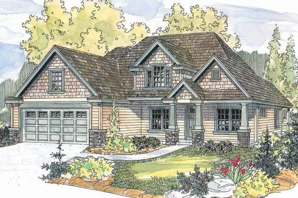 Craftsman House Plan - Wilsonville 30-517 - Front Elevation