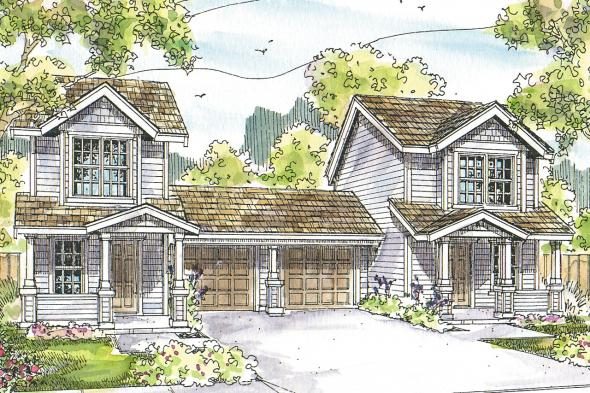 Duplex Plan - Rothbury 60-016 - Front Elevation