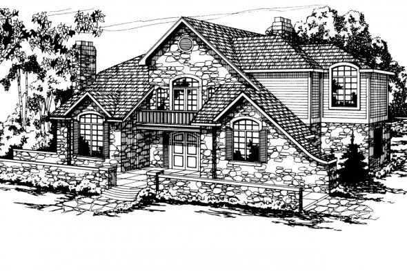 European House Plan - Ashton 10-065 - Front Elevation