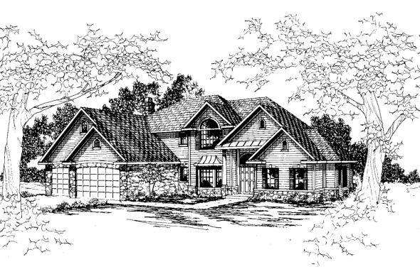 European House Plan - Bennington 30-088 - Front Elevation