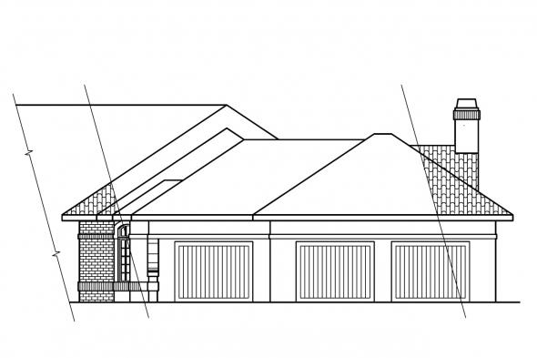 European House Plan - Braxton 11-040 - Right Elevation