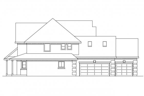European House Plan - Centralia 30-164 - Left Elevation