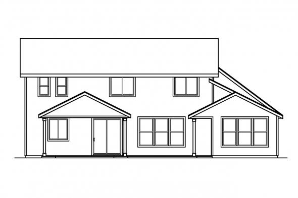 European House Plan - Garrison 30-414 - Rear Elevation
