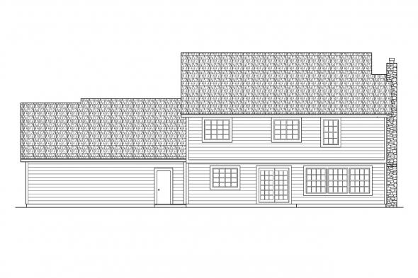 European House Plan - Livingston 30-046 - Rear Elevation