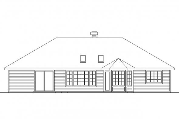 Georgian House Plan - Bingsly 30-532 - Rear Elevation