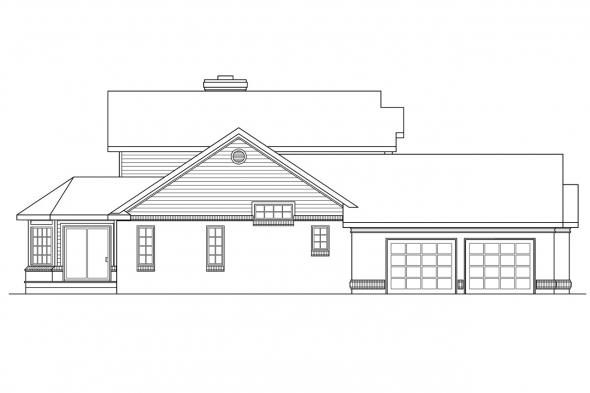 Georgian House Plan - Charleston 10-252 - Left Elevation
