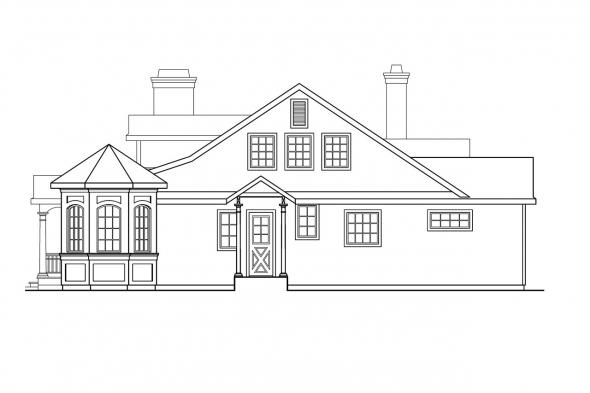 Georgian House Plan - Greenbriar 10-401 - Right Elevation