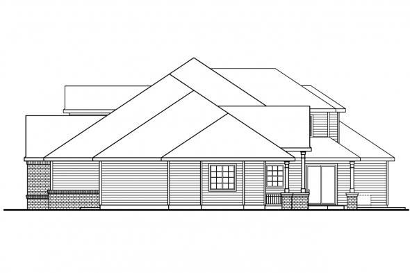 Georgian House Plan - Laurelwood 30-722 - Right Elevation