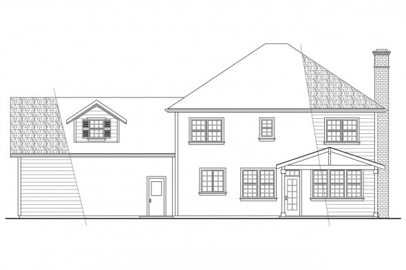 Georgian House Plan - Lorane 30-107 - Rear Elevation